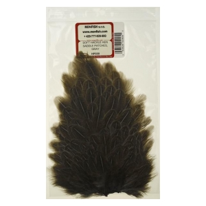 Soft hackle hen saddle patches - Gray