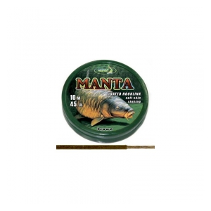 Ztužená návazcová šňůrka Coated braided hook links MANTA BROWN 45lb 10m