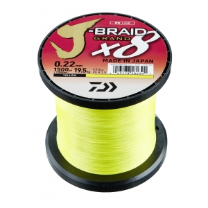 Pletená šňůra J-Braid Grand X8 0.13mm-8,5kg Yellow-1m