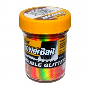 Berkley Pstruhové těsto DOUBLE GLITTER TWIST 50G SYEL./SGREEN/FLRED