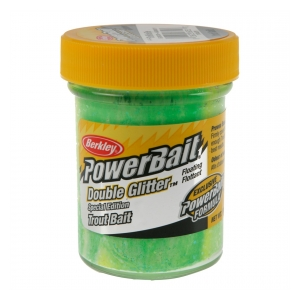 Berkley Pstruhové těsto DOUBLE GLITTER TWIST 50G GREEN/WLEMON/YEL.
